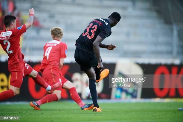 Paul Onuachu of FC Midtjylland scores the 20 goal against Goalkeeper Runar Alex Runarsson of FC Nordsjælland during the Danish Alka Superliga match...