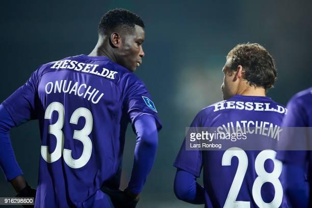 Paul Onuachu speaks to Erik Sviatchenko of FC Midtjylland during the Danish Alka Superliga match between AC Horsens and FC Midtjylland at CASA Arena...