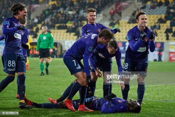 Paul Onuachu Zsolt Korcsmar and Erik Sviatchenko of FC Midtjylland celebrate after scoring their first goal during the Danish Alka Superliga match...