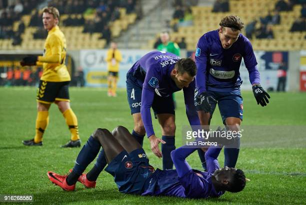 Paul Onuachu Zsolt Korcsmar and Erik Sviatchenko of FC Midtjylland celebrate after scoring their first goal during the Danish Alka Superliga match...