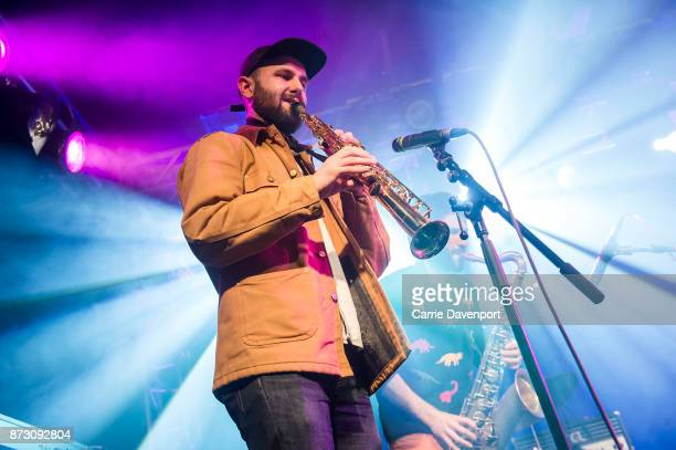 Paul O'Reilly of Robocobra Quartet performs onstage at the NI Music Awards at Mandela Hall on November 11 2017 in Belfast Northern Ireland