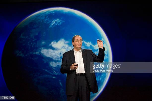 Paul Otellini, Intel president and CEO, delivers a keynote address at the 2008 International Consumer Electronics Show at the Venetian January 7,...