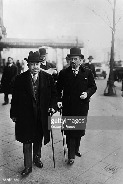 Paul Painleve Air minister with Francois Poncet Ambassador of France in Berlin on November 9 1931 in Berlin Germany