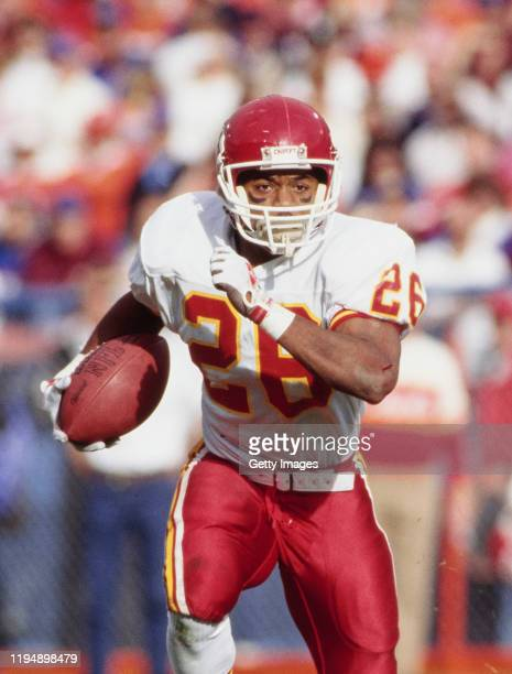 Paul Palmer#26 Running Back for the Kansas City Chiefs runs the ball during the American Football Conference West game against the Denver Broncos on...