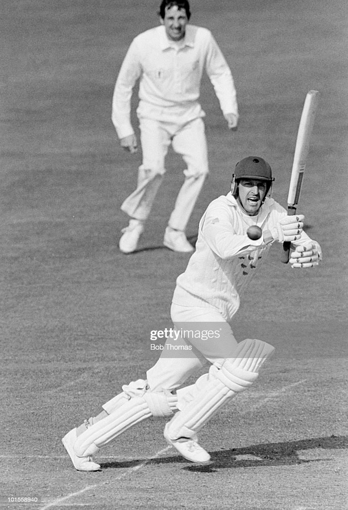 Paul Parker batting for Sussex against Nottinghamshire during a John Player League cricket match held at Trent Bridge, Nottingham on 18th May 1986. The Nottinghamshire fielder is Derek Randall. Sussex won by one wicket. (Bob Thomas/Getty Images).