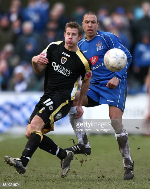 Paul Parry Cardiff City and Vaughan Thomas Chasetown battle for the ball