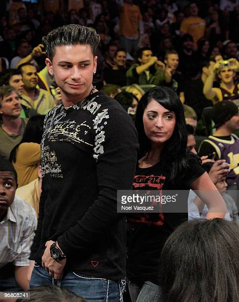 Paul Pauly D DelVecchio and Angelina 'Jolie' Pivarnick attend a game between the Los Angeles Clippers and the Los Angeles Lakers at Staples Center on...