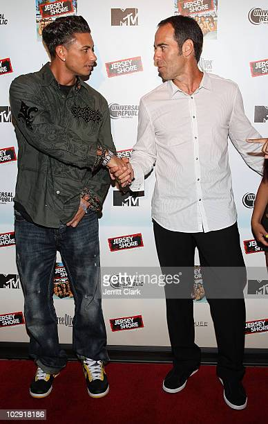 Paul 'Pauly D' DelVecchio and Monte Lipman attend the 'Jersey Shore' album release party at Marquee on July 13 2010 in New York City