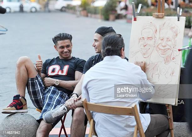 Paul Pauly D DelVecchio and Vinny Quadagnino of the reality TV show Jersey Shore pose for a portait in Piazza della Repubblica on May 24 2011 in...