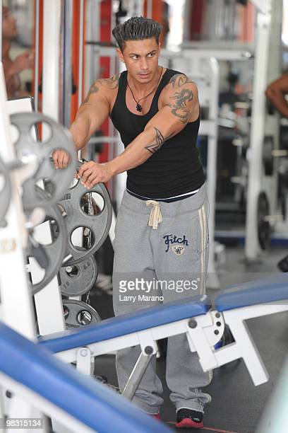 "Paul ""Pauly D"" DelVecchio is sighted training at the Gym on April 7, 2010 in Miami Beach, Florida."