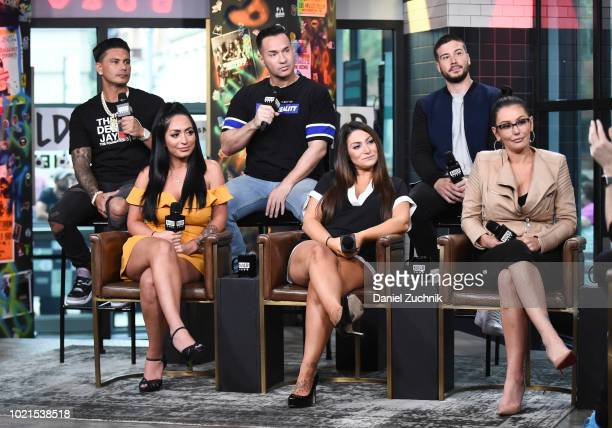 Paul 'Pauly D' DelVecchio Mike 'The Situation' Sorrentino Vinny Guadagnino Angelina Pivarnick Deena Nicole Cortese and Jenni 'JWoww' Farley attend...