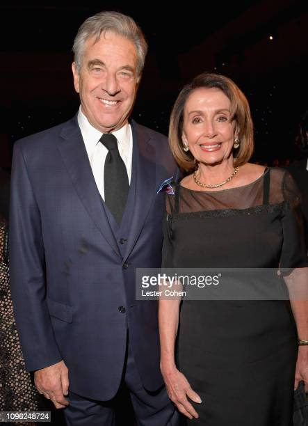 Paul Pelosi and Nancy Pelosi attend MusiCares Person of the Year honoring Dolly Parton at Los Angeles Convention Center on February 8 2019 in Los...