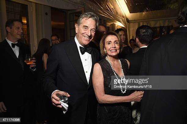 Paul Pelosi and Nancy Pelosi attend the Bloomberg Vanity Fair cocktail reception following the 2015 WHCA Dinner at the residence of the French...