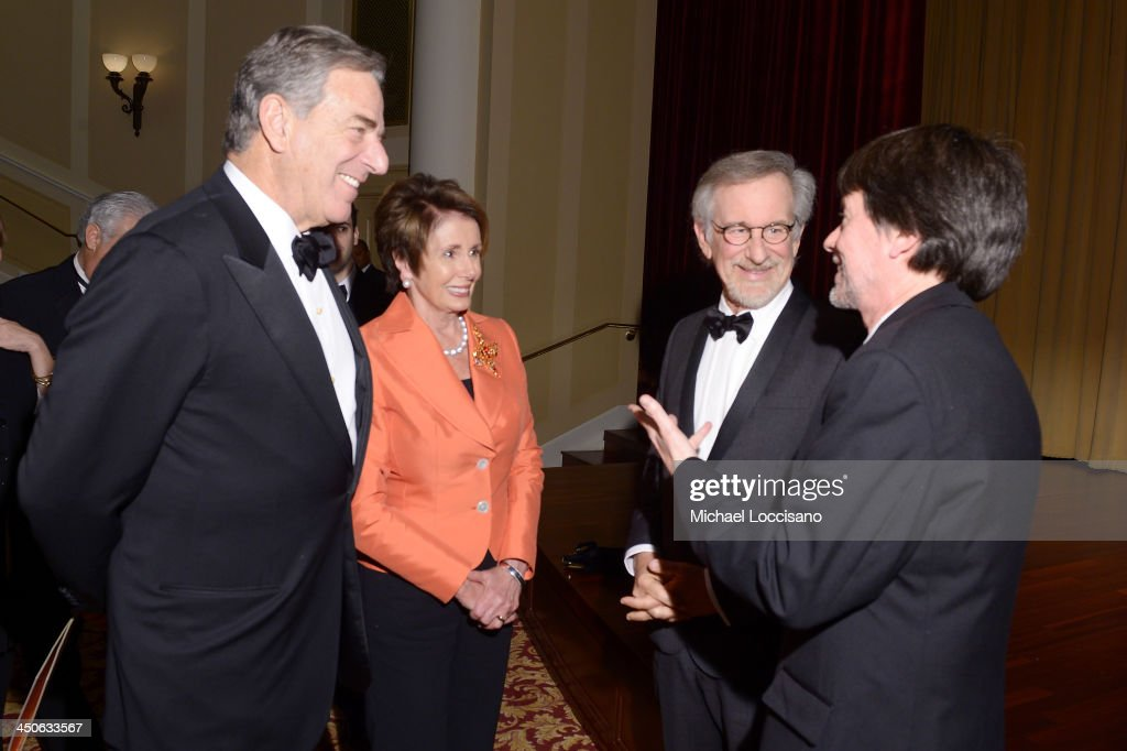 Paul Pelosi, Minority Leader of the U.S. House of Representatives Nancy Pelosi, filmmaker and honoree Steven Spielberg, and Foundation for the National Archives Board Vice President and Gala Chair Ken Burns speak during a viewing of facsimile versions of the 'two 13th Amendments' at the 13th Amendment at the Foundation for the National Archives 2013 Records of Achievement award ceremony and gala in honor of Steven Spielberg on November 19, 2013 in Washington, D.C.