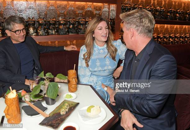 Paul Peschisolido, Dame Karren Brady and Gordon Ramsay attend the official launch party of Lucky Cat by Gordon Ramsay in Grosvenor Square, Mayfair on...