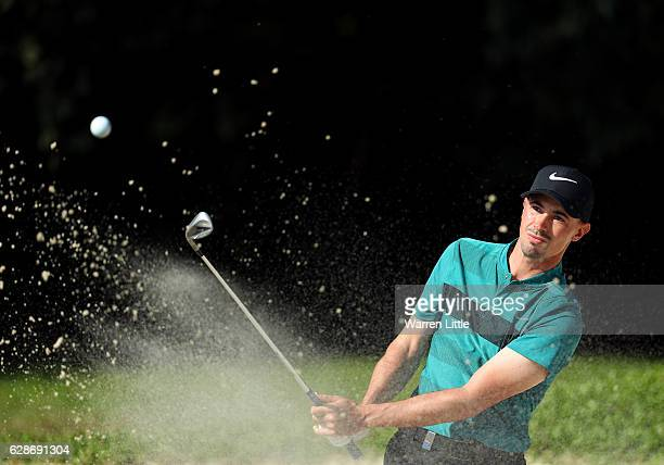 Paul Peterson of the USA plays out of the 10th greenside bunker during the second round of the USB Hong Kong Open at The Hong Kong Golf Club on...