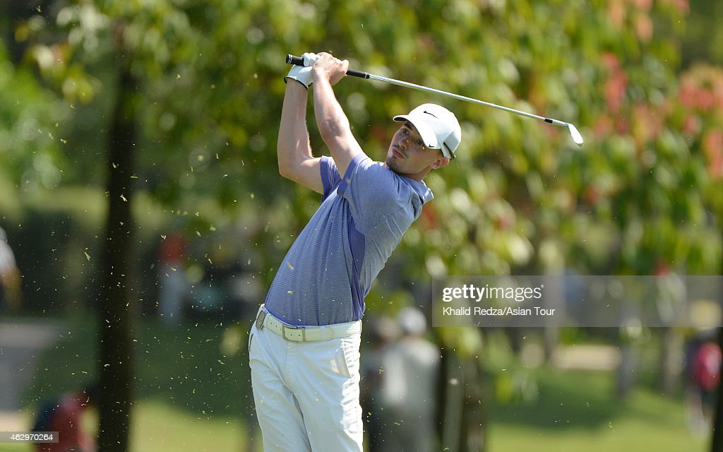 Paul Peterson of USA plays a shot during round four of the Maybank Malaysian Open at Kuala Lumpur Golf & Country Club on February 8, 2015 in Kuala Lumpur, Malaysia.