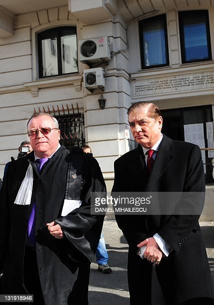 Paul Philippe de Hohenzollern and his lawyer Veronel Radulescu leave Romania's supreme court in Buchareston November 8 2011 Romania's supreme court...