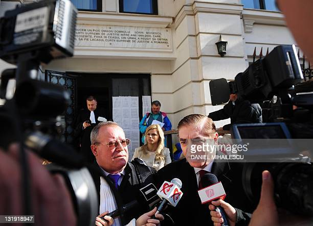 Paul Philippe de Hohenzollern and his lawyer Veronel Radulescu address media after they leave Romania's supreme court in Bucharest on November 8 2011...