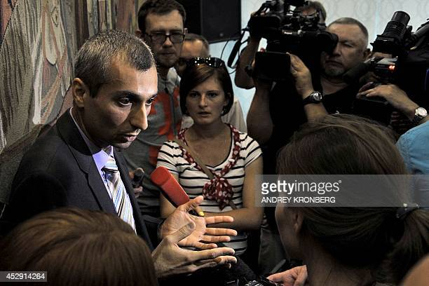 Paul Picard the head of the Organisation for Security and Cooperation in Europe mission in Russia's southern Rostov region speaks with journalists...