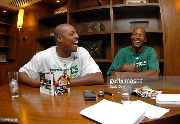 Paul Pierce & Ray Allen of the Boston Celtics laugh out loud during a EA Sports NBA LIVE 08 game release event as part of the 2007 NBA Europe Live...