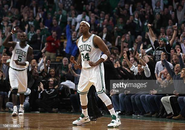Paul Pierce and Kevin Garnett of the Boston Celtics celebrate after Pierce drew the foul in the final minute of the game against the Orlando Magic on...