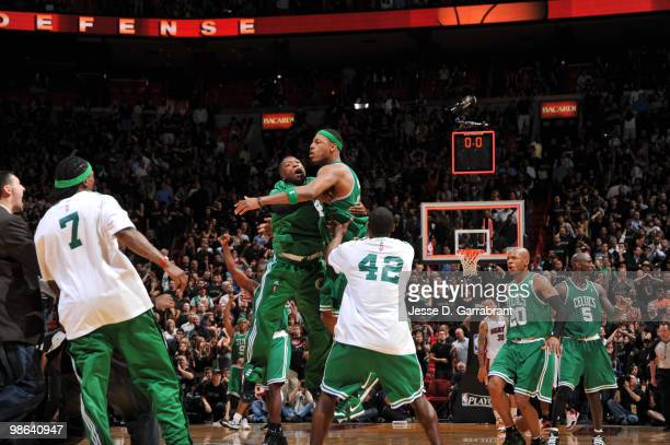 Paul Pierce and Nate Robinson of the Boston Celtics celebrate against the Miami Heat in Game Three of the Eastern Conference Quarterfinals during the...
