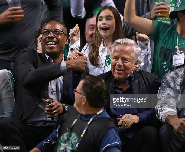 Paul Pierce and Robert Kraft sit together courtside in the first half The Boston Celtics hosted the Cleveland Cavaliers for Game Seven of their NBA...