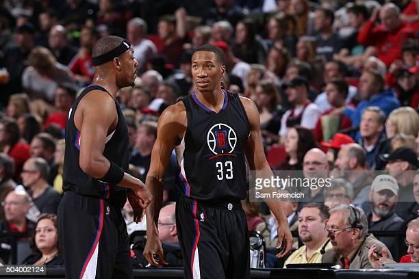Paul Pierce and Wesley Johnson of the Los Angeles Clippers talk during the game against the Portland Trail Blazers on January 6 2015 at the Moda...