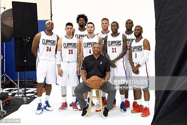 R Paul Pierce Austin Rivers DeAndre Jordan JJ Redick head coach Doc Rivers Blake Griffin Jamal Crawford Luc Mbah A Moute and Chris Paul of the Los...
