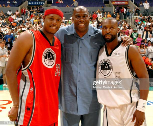 Paul Pierce Earvin 'Magic' Johnson and Baron Davis during A Midsummer Night's AllStar Basketball Game on July 9 2006 at the Staples Center in Los...