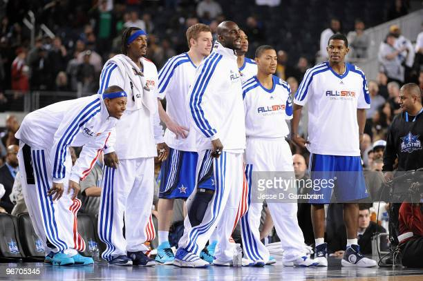 Paul Pierce Gerald Wallace David Lee Kevin Garnett Derrick Rose and Joe Johnson of the Eastern Conference react during the NBA AllStar Game part of...