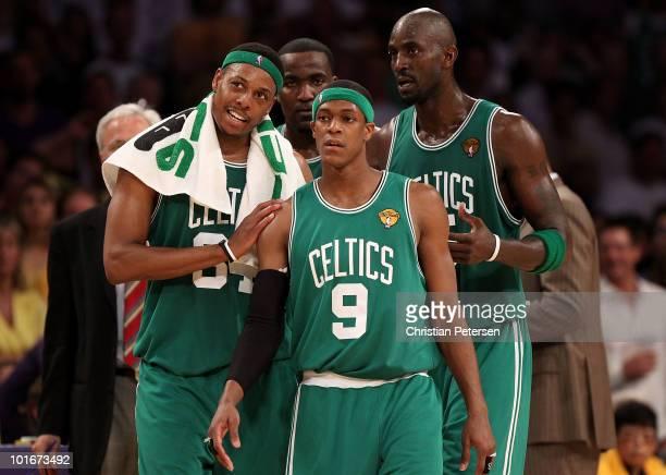 Paul Pierce Kendrick Perkins Rajon Rondo and Kevin Garnett of the Boston Celtics walk onto the court in the second half against the Los Angeles...