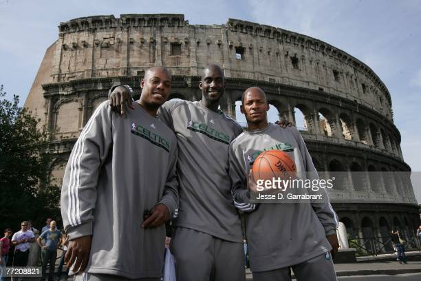 Paul Pierce, Kevin Garnett and Ray Allen of the Boston Celtics pose for a photo in front of the Colosseum during the 2007 NBA Europe Live Tour on...