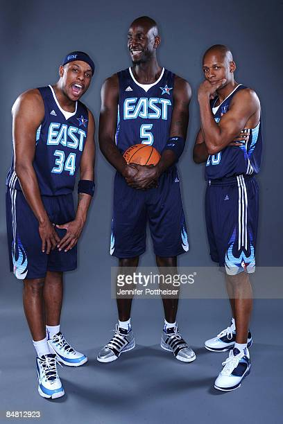 Paul Pierce Kevin Garnett and Ray Allen of the Western Conference poses for a portrait prior to the 2009 NBA AllStar Game on February 15 2009 at the...