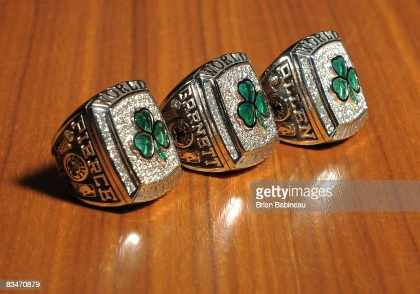 Paul Pierce Kevin Garnett and Ray Allen's 2008 Championship rings before the game against the Cleveland Cavaliers on October 28 2008 at the TD...