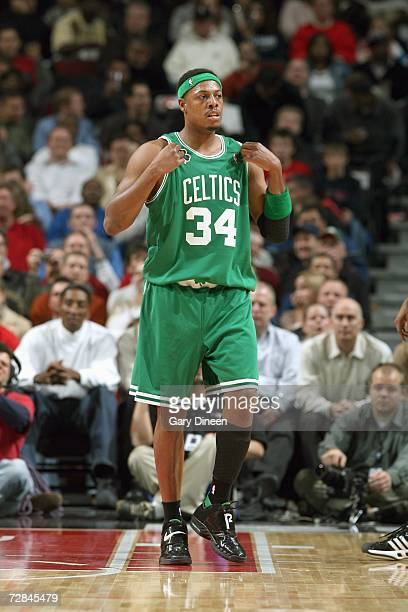 Paul Pierce of the Boston Celtics adjusts his jersey during the game against the Chicago Bulls on December 4 2006 at the United Center in Chicago...