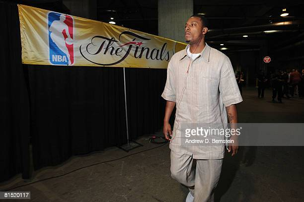 Paul Pierce of the Boston Celtics arrives at the arena prior to taking on the Los Angeles Lakers in Game Three of the 2008 NBA Finals at Staples...