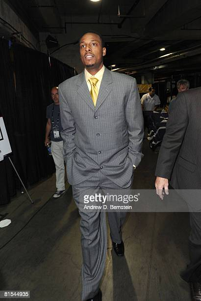 Paul Pierce of the Boston Celtics arrives at the arena prior to taking on the Los Angeles Lakers in Game Four of the 2008 NBA Finals at Staples...