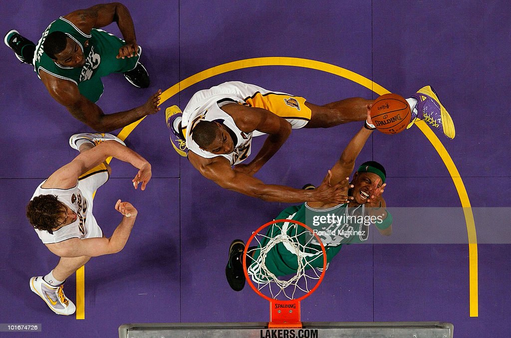 Paul Pierce #34 of the Boston Celtics attempts a shot against Andrew Bynum #17 of the Los Angeles Lakers in Game Two of the 2010 NBA Finals at Staples Center on June 6, 2010 in Los Angeles, California.