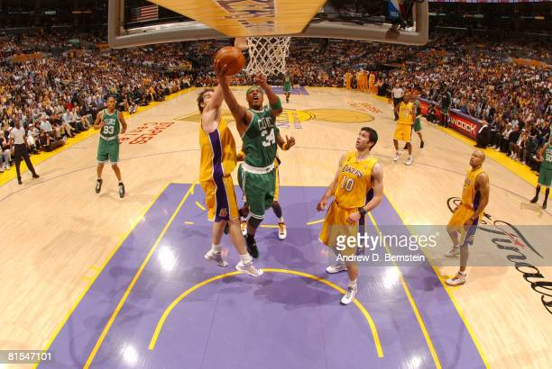 Paul Pierce of the Boston Celtics attempts a shot against Pau Gasol of the Los Angeles Lakers in Game Four of the 2008 NBA Finals at Staples Center...