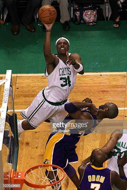 Paul Pierce of the Boston Celtics attempts a shot in the second quarter against Kobe Bryant of the Los Angeles Lakers during Game Five of the 2010...