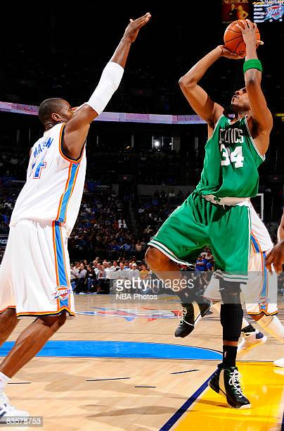Paul Pierce of the Boston Celtics attempts to shoot a jump shot against Desmond Mason of the Oklahoma City Thunder at the Ford Center on November 5...