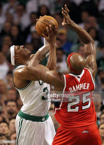 Paul Pierce of the Boston Celtics battles Erick Dampier of the Atlanta Hawks in the second half in Game Three of the Eastern Conference Quarterfinals...
