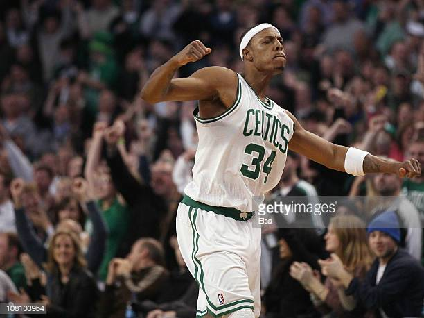 Paul Pierce of the Boston Celtics celebrates after he drew the foul in the final minute of the game against the Orlando Magic on January 17, 2011 at...