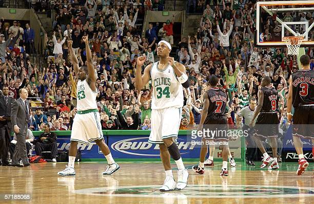 Paul Pierce of the Boston Celtics celebrates after hitting the buzzer beater at the end of the third quarter against the Chicago Bulls March 26 2006...