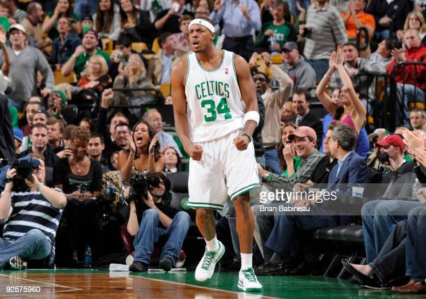Paul Pierce of the Boston Celtics celebrates after scoring against the Chicago Bulls on October 30 2009 at the TD Garden in Boston Massachusetts NOTE...