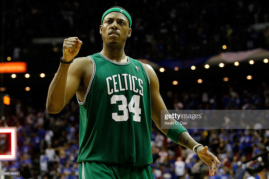 Paul Pierce #34 of the Boston Celtics celebrates after the Celtics won 92-88 against the Orlando Magic in Game One of the Eastern Conference Finals during the 2010 NBA Playoffs at Amway Arena on May 16, 2010 in Orlando, Florida.