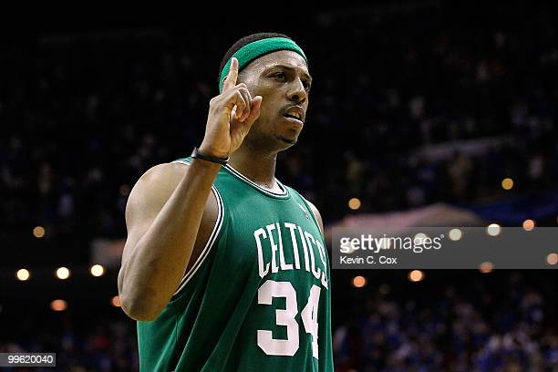 Paul Pierce of the Boston Celtics celebrates after the Celtics won 9288 against the Orlando Magic in Game One of the Eastern Conference Finals during...