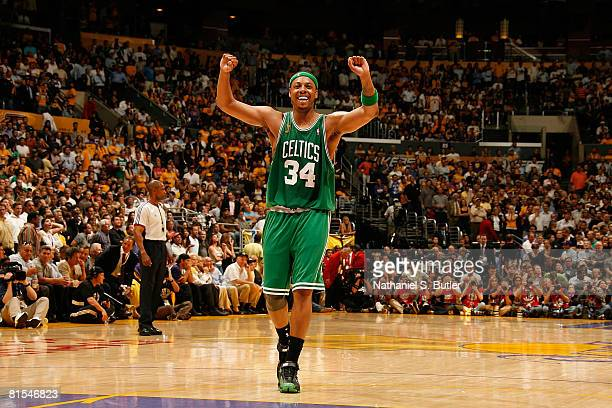 Paul Pierce of the Boston Celtics celebrates against the Los Angeles Lakers in Game Four of the 2008 NBA Finals on June 12, 2008 at Staples Center in...